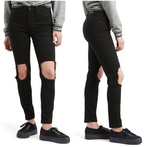 Levi's 721 high rise skinny black w/ knee holes